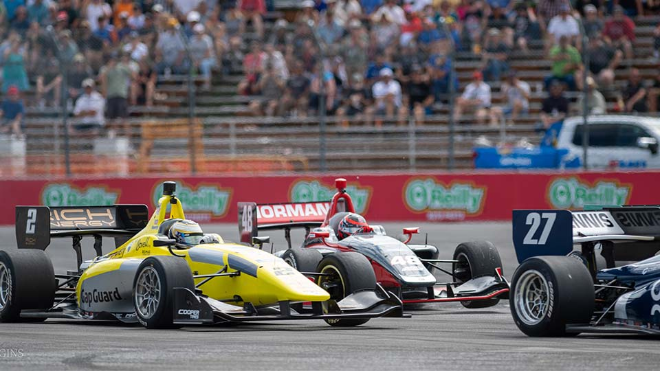 Indy Lights Cars on track at the Grand Prix of Portland