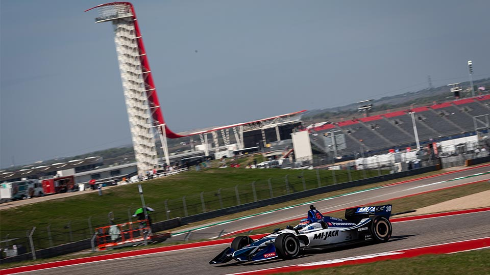 Takuma Sato on track at the Circuit of the Americas
