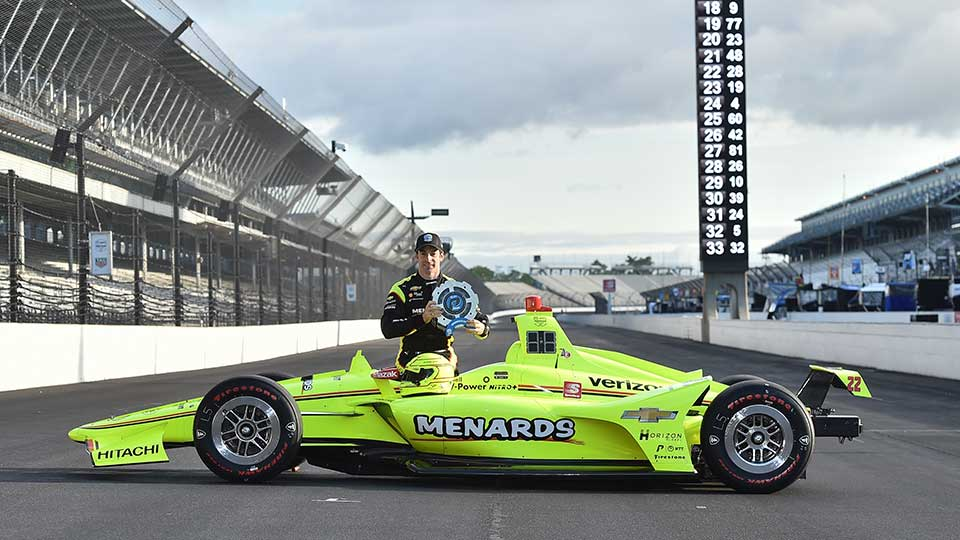 Simon Pagenaud with the P1 award for the Indy 500